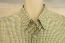 BUGATCHI  UOMO Men's Button Front, Short Sleeve Green Micro Check Size Large