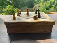4in1 Chess, Checkers, Solitaire, Domino rustic olive wood board game set