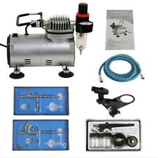 Air Compressor Crafts Hobby Art Set Air brush Kit with 3 Guns Gravity Siphon