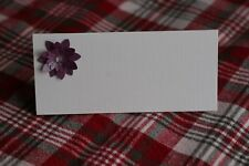 10 WHITE NAME PLACE CARDS WITH DELICATE CADBURY PURPLE DAISY FLOWER, WEDDINGS