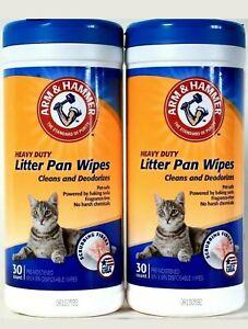2 Pack Arm & Hammer Heavy Duty Litter Pan 30 Count Scrubbing Fibers Towels