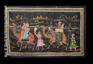 Batik Hanging Wall Silk Painting Art Mughal India 28x19 5/16in B3 1176