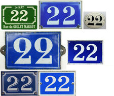 More details for old blue french house number 22 door gate wall plate plaque enamel sign - pick