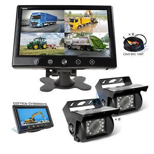 """Monitor 9"""" Telecamere HD Kit Retromarcia Sicurezza Veicoli Trattori Pala Camion"""