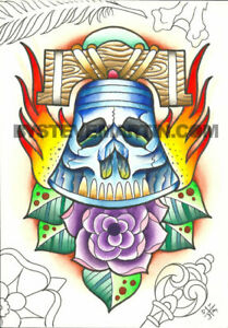 Original painting colorful traditional tattoo art skull liberty bell rose ink