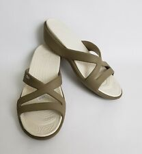 Crocs Womens Shoes Sandals Slides Wedge Heels Beige White Size 11