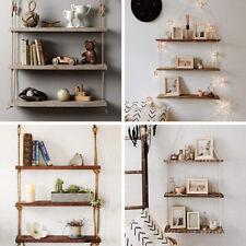 Rustic Wooden Hanging Rope Shelf Handmade Solid Natural Wood Shelves Floating