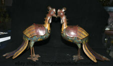 "17"" Old Chinese Cloisonne Bronze Fengshui Phoenix Birds Incense Burner Pair"