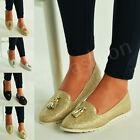 New Womens Glitter Flat Ballet Loafers Ladies Tassel Pumps Slip On Shoes Size Uk