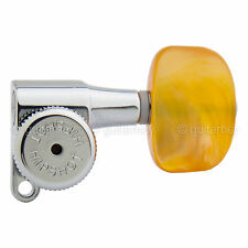 NEW Hipshot Tuners Schaller Mini M6 Style w/ AMBER Buttons A01 Set 3x3 - CHROME