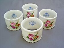 LOVELY SET OF 4X COALPORT BONE CHINA FLORAL/LUDLOW ROSES NAPKIN/SERVIETTE RINGS
