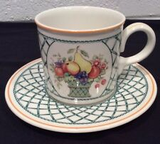 "Villeroy & Boch Basket Mug & Saucer Set Cup Vitro Stamped 2 HTF 3"" Fruit Lattice"