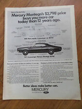 1971 Mercury Montego Ad $2798 Price Buys you More Car Today than 12 Years Ago