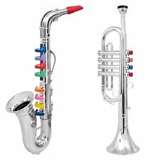 Click N' Play Set Musical Instruments for Kids Silver Saxophone, Trumpet Horn