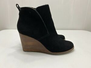 Lucky Brand Wedge Heel Ankle Boots Black Leather Booties Slip On Womens sz 10