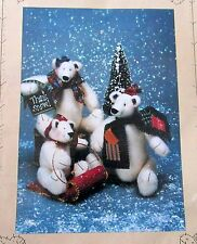 "Plush Pattern Christmas Teddy Polar Bear 8"" & 5"" Sled Homespun at Heart"