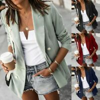 Women Office Lady Long Sleeve Casual Blazer Suit Jacket Ruffle Coat Outwear
