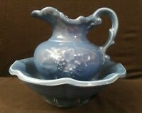 Vintage McCoy Pottery Marked Blue Pitcher & Bowl Set