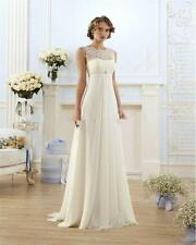 White Ivory Pregnant Chiffon wedding dress Formal dress Bridal Gown stock 6-18