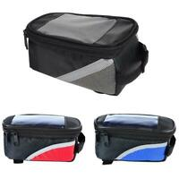 1Cycling Bike Front Bag Waterproof Bicycle Phone Holder Pannier Pouch Frame W3J7