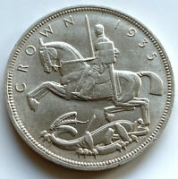 1935 GEORGE V SILVER ROCKING HORSE CROWN  5/- UNCIRCULATED
