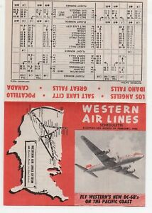 1953 Western Airline Schedule for their new DC-6B's