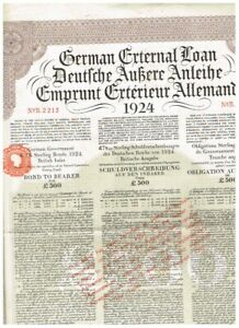 Deutsche Äußere Anleihe 1924 (Dawes-Anleihe) LB 500, gelocht/ Kupons, VF