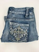 Suko Star Women's Stretch Flare Cut Embellished Distressed Denim Jeans, Size 7
