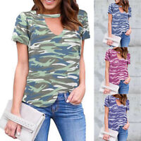 Women V Neck T Shirt Short Sleeve Tee Casual Tops Fitted Camo Blouse Camouflage