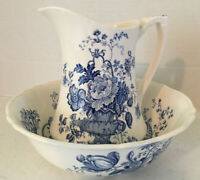 Charlotte Alfred Meakin England Vintage Pitcher Bowl Child's Size Blue White