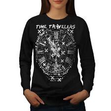 Wellcoda Time Travel Clock Womens Sweatshirt, Future Casual Pullover Jumper