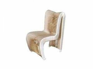 """22"""" W Contemporary Dining Chair White Seatbelt Fabric Modern High Back"""