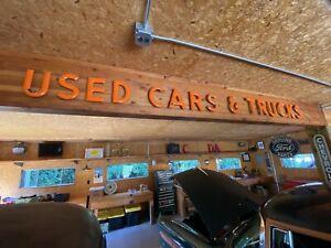 "Vintage Auto Dealership Used Cars & Trucks 8"" Orange Porcelain Sign 15 Letters"