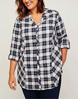 Womens Plus Size 4X 30/32 COTTON Plaid Button Down Tunic Shirt  Top