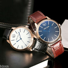 Fashion Men Leather Stainless Steel Round Case Casual Quartz Wrist Watch Analog