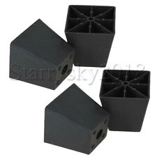 4pcs Black Trapezoid Plastic Furniture Legs for Furniture Cabinet Sofa Bed