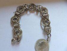 Inusual pulsera con enlace de lujo con medalla de plata plateado WL52_27