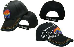 Native American Indian Bear Tribal Shadow Black Embroidered Cap Hat