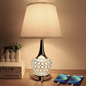 Crystal Table Lamp, Bedside Nightstand Lamp with Dual USB Ports, Modern Table 4