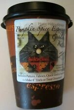 Pumpkin Spice Espresso Goblin Black Cat Quilted Ornament Pattern and Fabric Kit