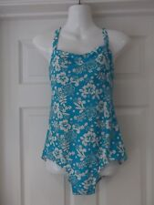 DAMART Swimming Costume Blue/White Floral Print with Padded Bust UK 18
