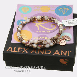 Authentic Alex and Ani Ruler, Birch Beaded Rose Gold Charm Bangle Wrap