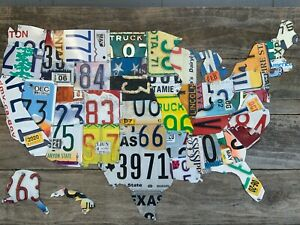 Large Authentic USA License Plate Map