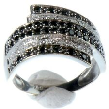 TRES BELLE BAGUE OR BLANC 18K 750/°°° DIAMANTS BLANC ET NOIR