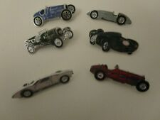 6 metal and enamel classic car pin badges
