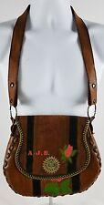 Vintage Leather Handmade Satchel Purse Hippie Peace Love Art