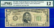 *Crazy Rare 1934 $5 FRN (( STAR )) PMG 12 NET *San Francisco-Mule* # L00245132*