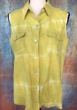 "Size 1 CHICOS 42"" Ch Linen Tie Dye Lime Green Linen Blouse Sleeveless Top EUC"