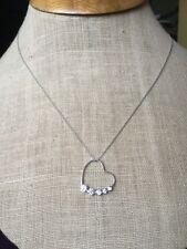 10 Kt White Gold Heart With Journey CZs Pendant Necklace