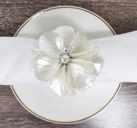 Fennco Styles Handmade Ivory Pearl Flower Napkin Rings, Set of 4